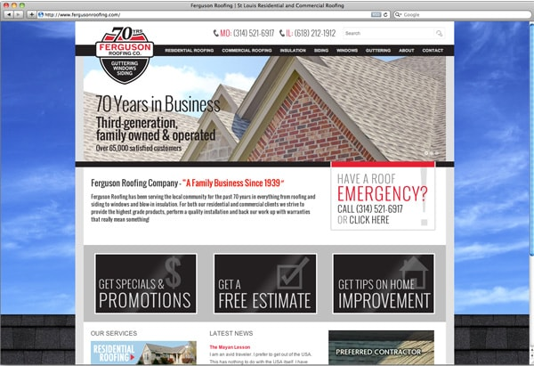 St Louis Roofing Company Website Redesign Professional