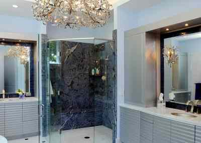 Luxury spa bathroom with NEFF Cabinetry and blue granite