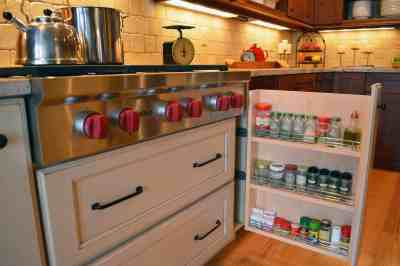pull-out spice storage cabinetry design