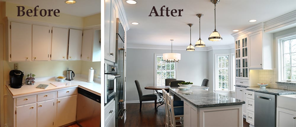 White Kitchen Before-After Collage