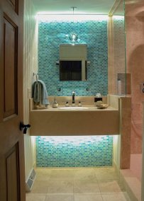 Modern guest bath, colorful tile