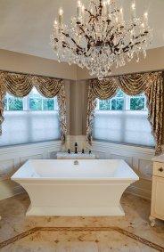 Feminine master bath, freestanding tub
