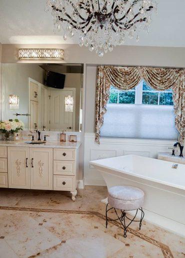 Feminine master bath, furniture vanity