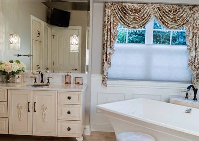 Feminine master bath, furniture vanity