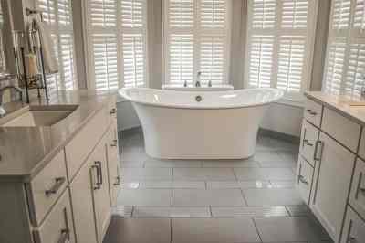 Bathroom oasis, his and her vanities