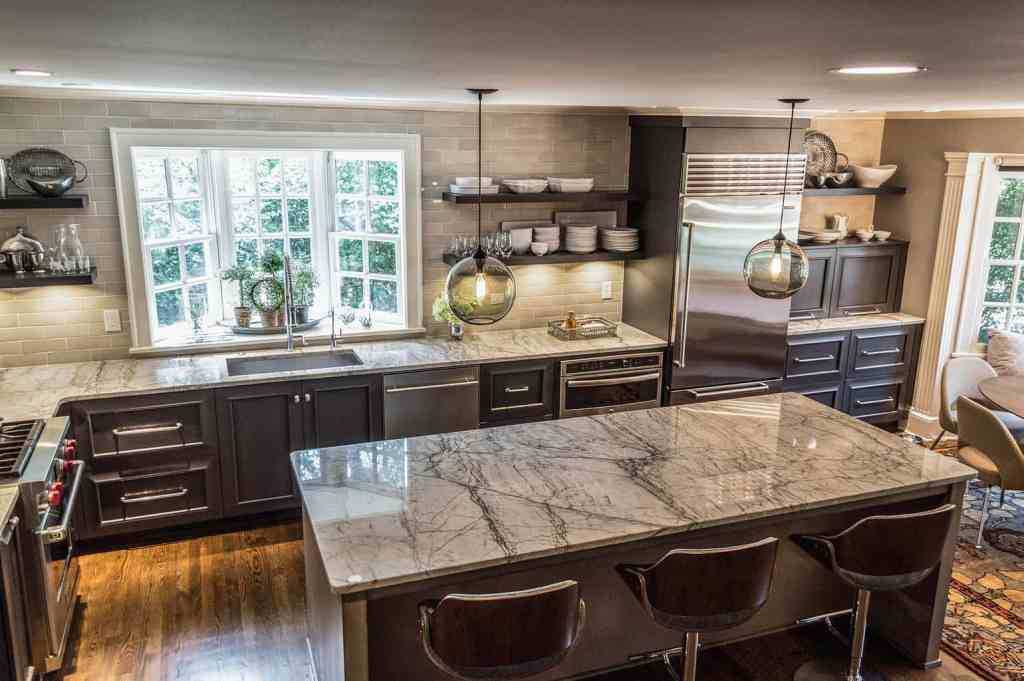 Traditional kitchen open shelves and glass subway tile in Hudson, Ohio