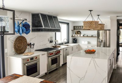 Kitchen island quartz waterfall