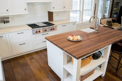 Walnut wood island countertop