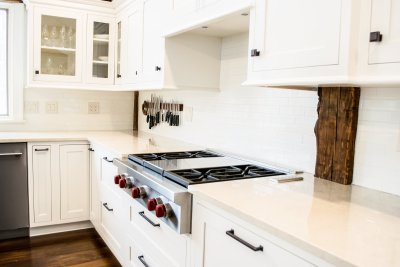 Wolf cooktop white cabinets glass cabinet doors