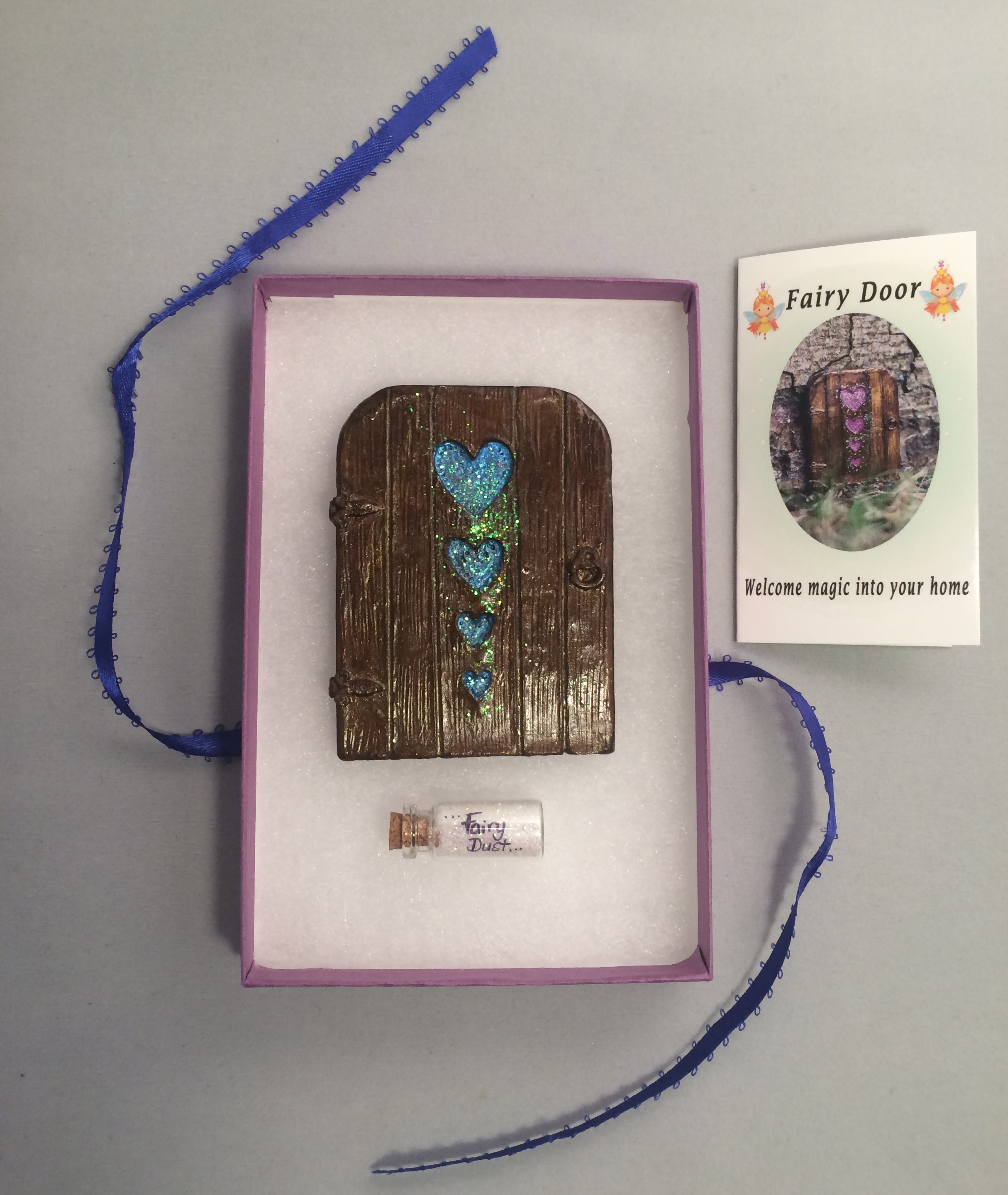 Hearts Fairy Door – blue