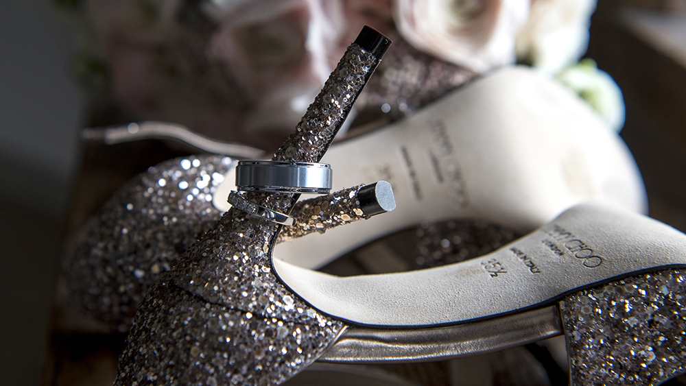 rings on Jimmy Choo shoe