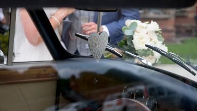 love heart in wedding car