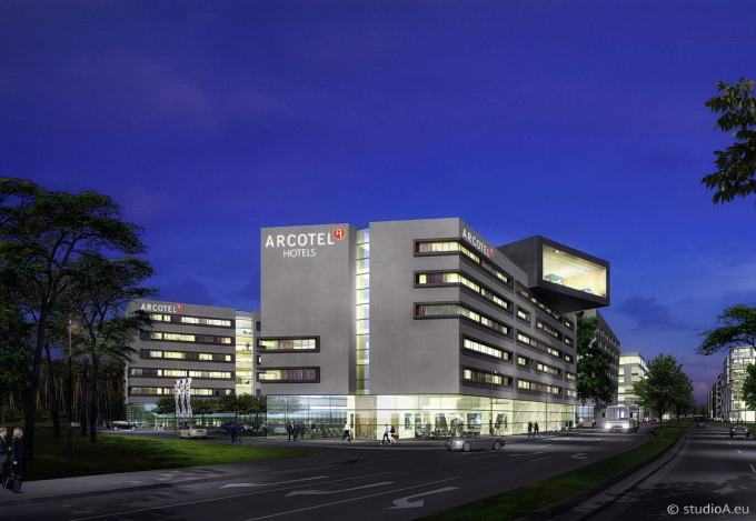 3D visual at night, Arcotel hotel, Gateway Gardens, near airport Frankfurt