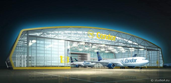 3D visualization, Condor hangar, airport Frankfurt, design Neumann architects, client Fraport
