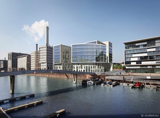 3D Visualization - Buildings at the waterside, Westhafen Frankfurt - studioA