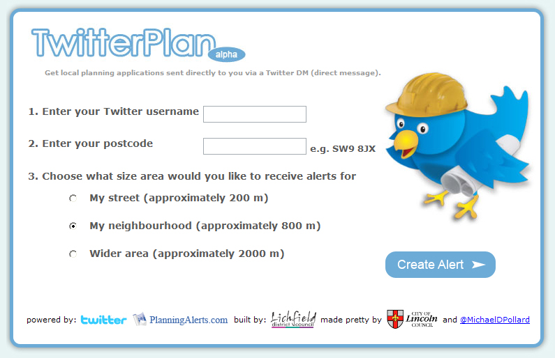 TwitterPlan - Get local planning alerts via a Twitter DM