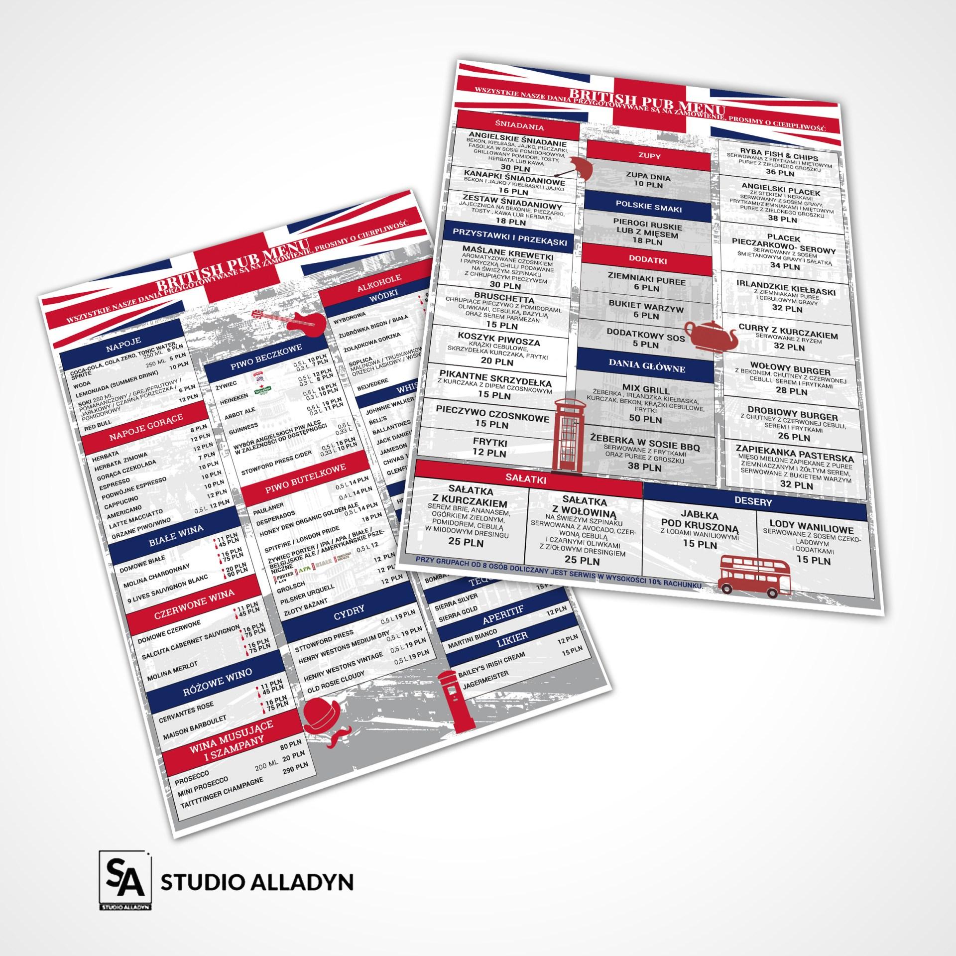 Przykładowy projekt karty menu w formacie A3 dla restauracji i baru w Warszawie.