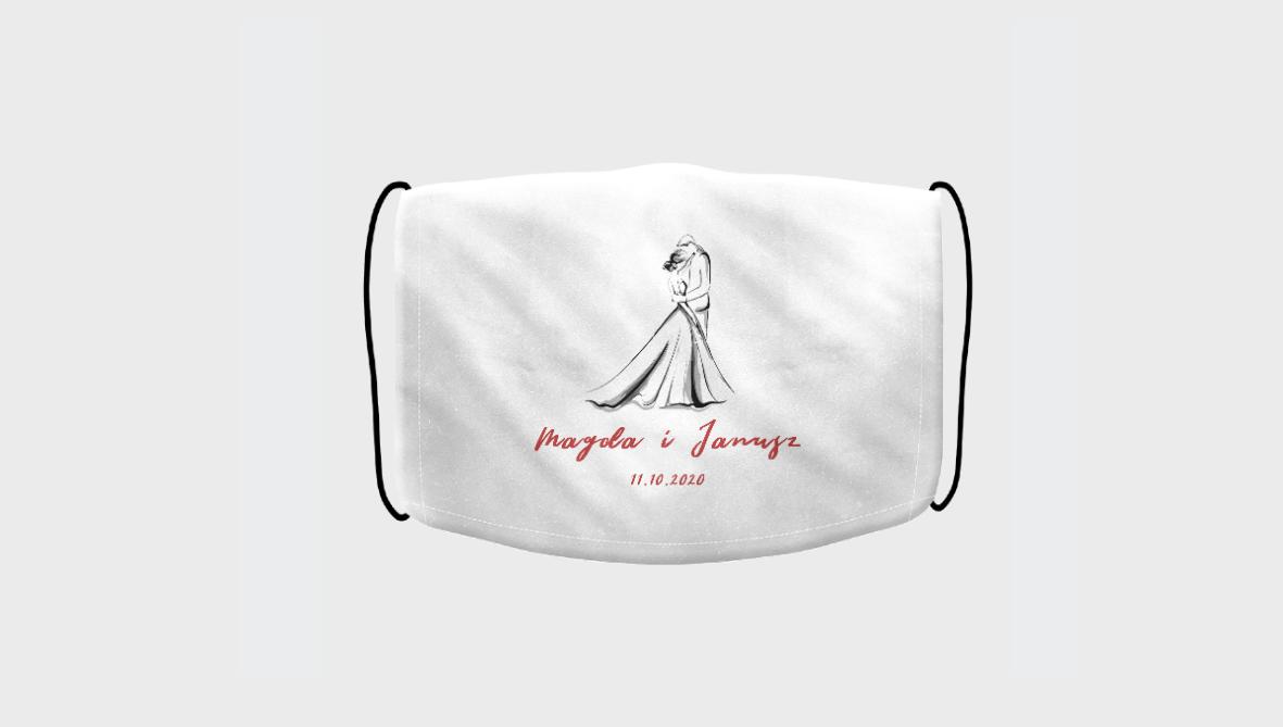 Spersonalizowana maseczka z nadrukiem | Maseczka na wesele z nadrukiem