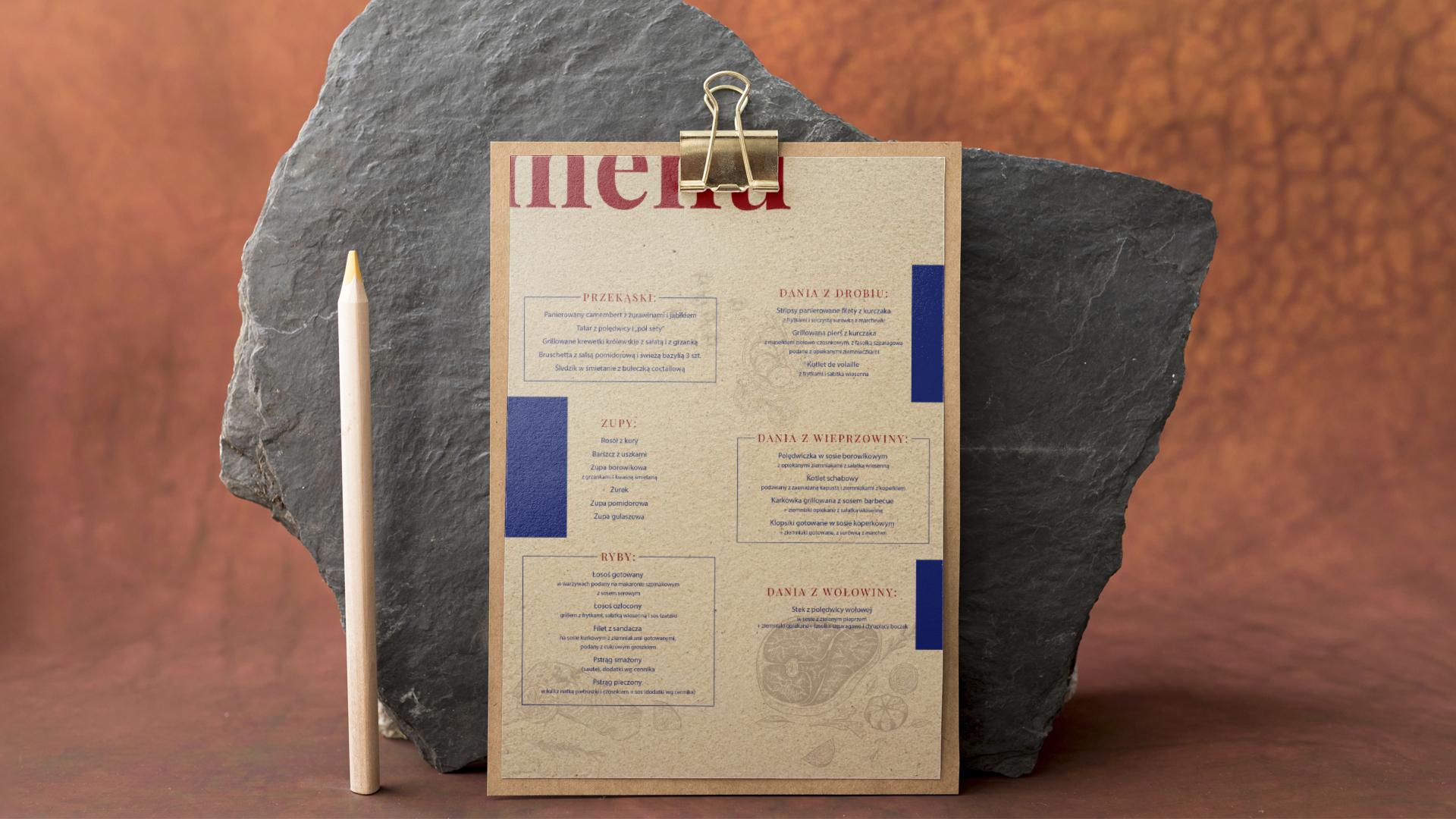 projekt karty menu