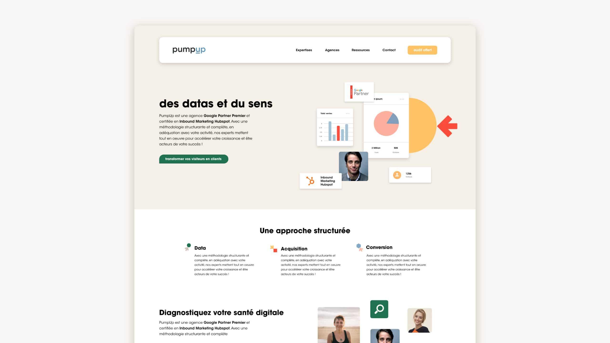Home page site internet PumpUp