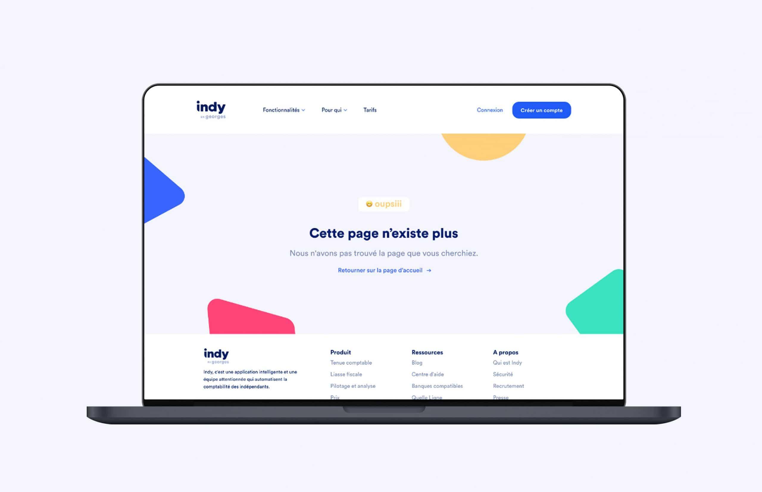 Design de la page 404 du site indy.fr