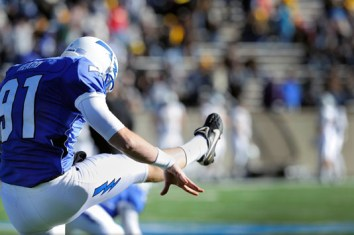 Falcons kicker Andrew Heard attempts a field goal against the wind during the game against Wyoming, November 12, 2011 at Falcon Stadium, Colorado Springs, CO. (U.S. Air Force photo/Liz Copan)