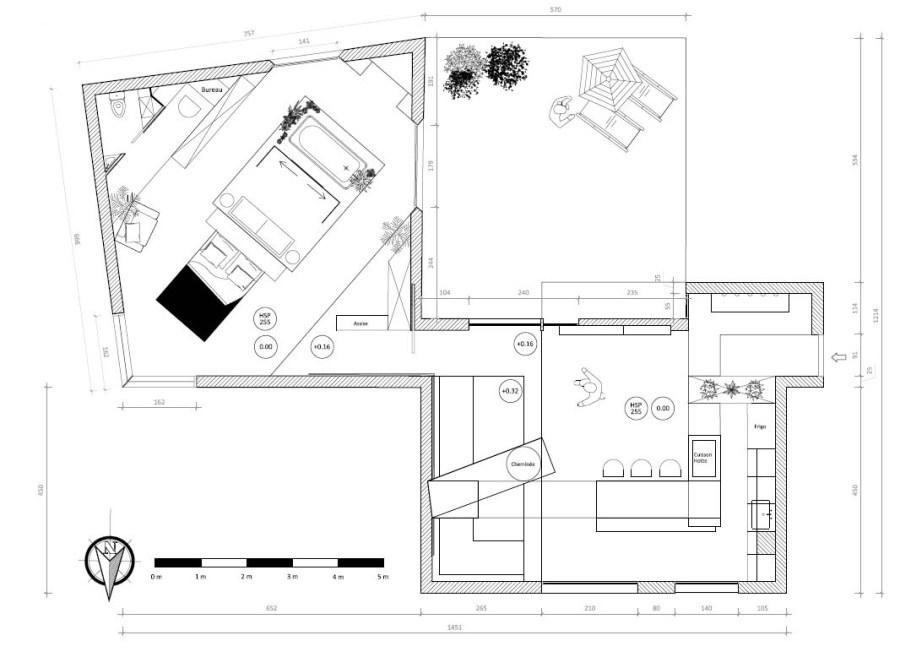 PLan détaillé et raccordement des deux espaces