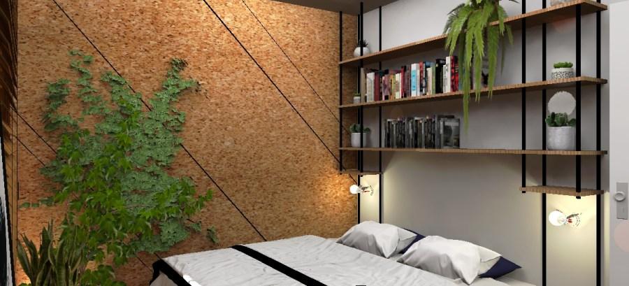 Une tête de lit en bois et métal, épurée et fonctionnelle