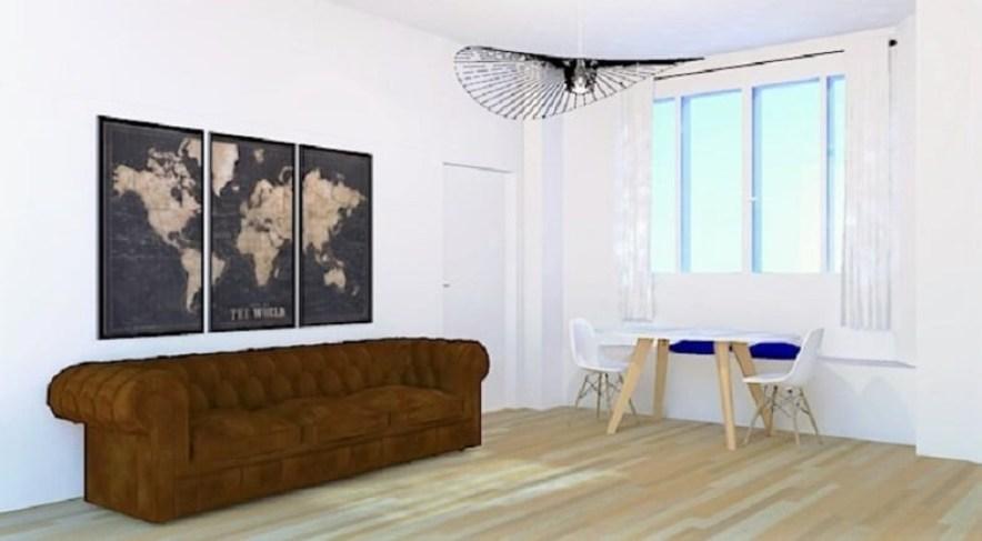 Vue 3D de l'espace salon-salle à manger
