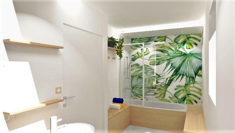 Ambiance zen et épurée pour cette salle de bain aux tonalités naturelles