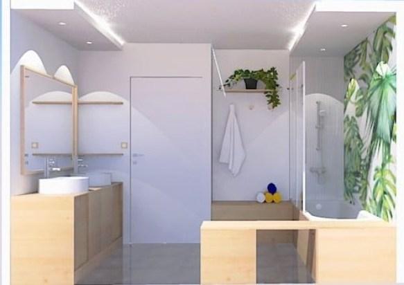 Vue droite de la salle de bain