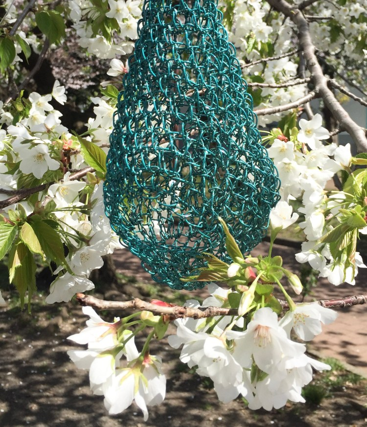 Wire crochet water drop for the garden