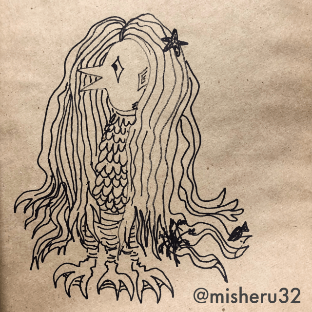 Ink and Paper Drawing of Amabie