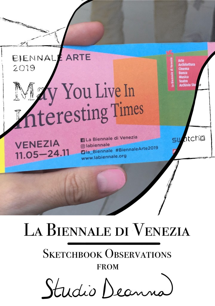 Cover image of a ticket stub and sketching for Venice Biennale