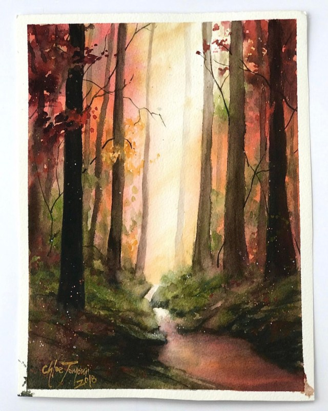 A path in the forest watercolor by Chloe Tomomi called Courage