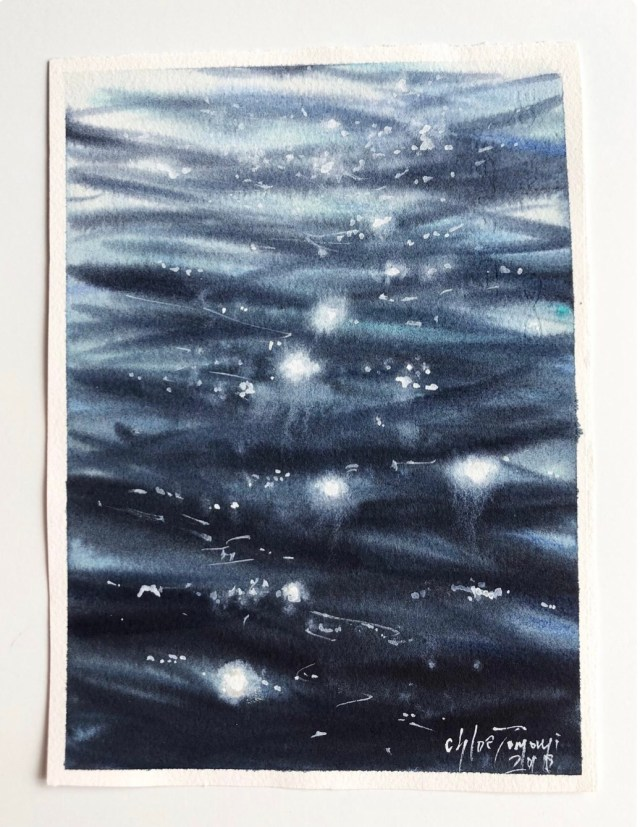 Watercolor artwork of the sun glinting off the surface of a lake or ocean, called Shimmer by Chloe Tomomi