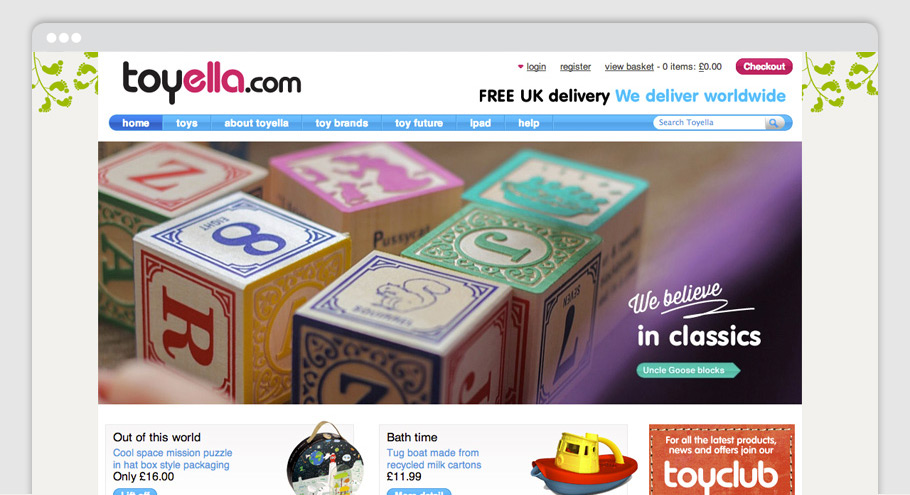 Toyella website homepage