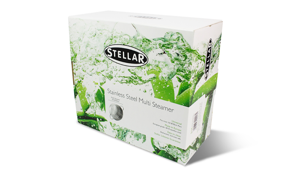 Isometric view on a white background of packaging box for Stellar cookware stainless steel multi steamer.