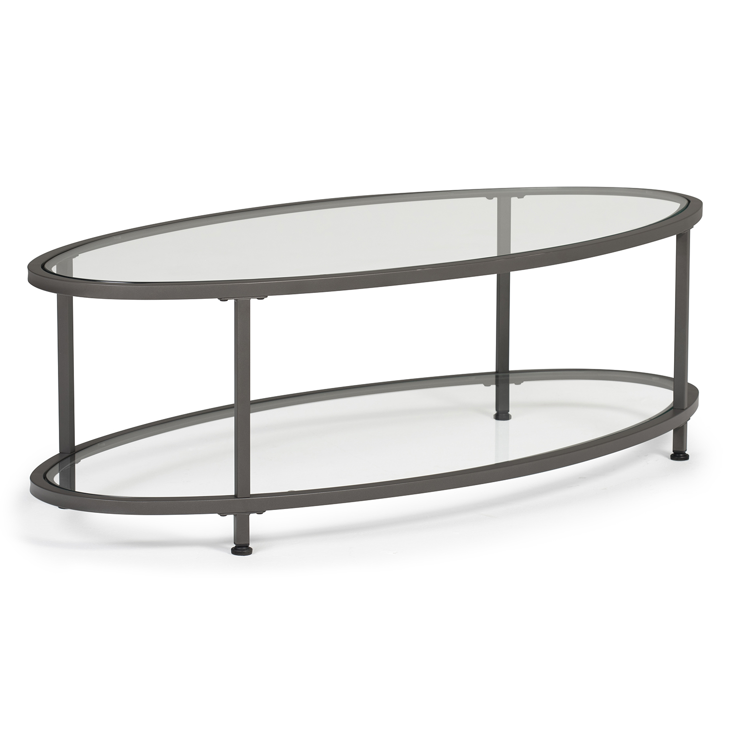 camber modern oval coffee table 48 w in pewter clear glass item 71014 studio designs
