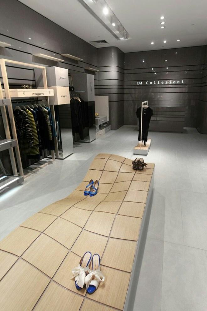 Muebles de tiendas de lujo con materiales nobles