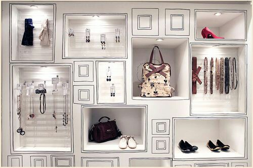 Pared de tienda con tendencias de hand painted