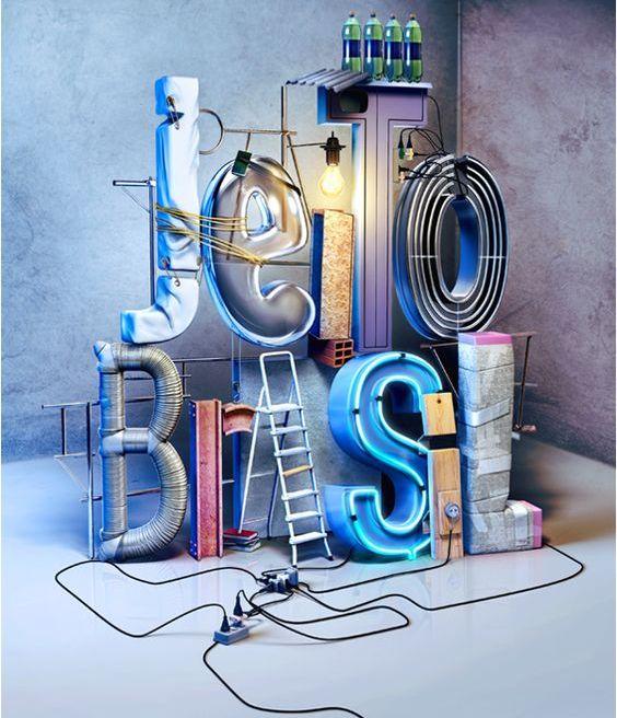 Exposición de tendencia en estilo y tipo de elementos como la luz y las letras