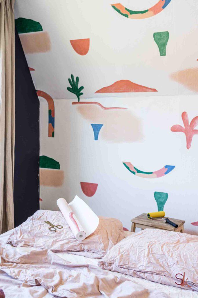 Handgeschilderd behang Roomblush