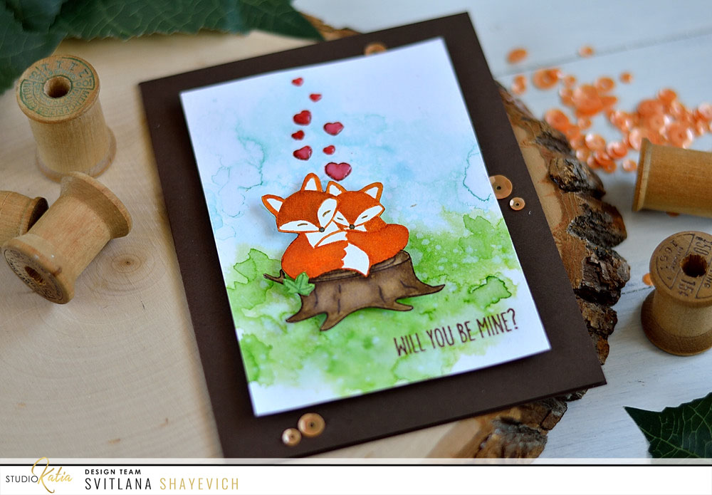 Sweet Valentine Card with Studio Katia Snuggling Foxes. Card by @s_shayevich