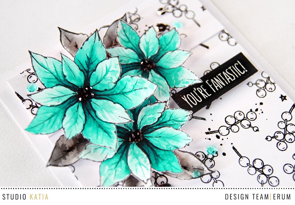Studio Katia Merry Poinsettia Stamp Set, watercolour card by Erum Tasneem - @pr0digy0