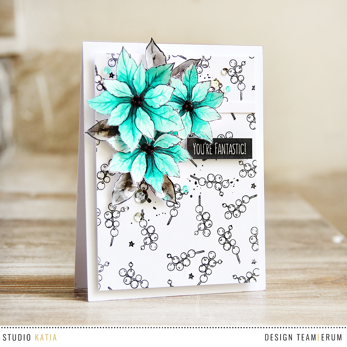 Studio Katia Merry Poinsettia Stamp Set, watercolour card by Erum Tasneem - @pr0digy0
