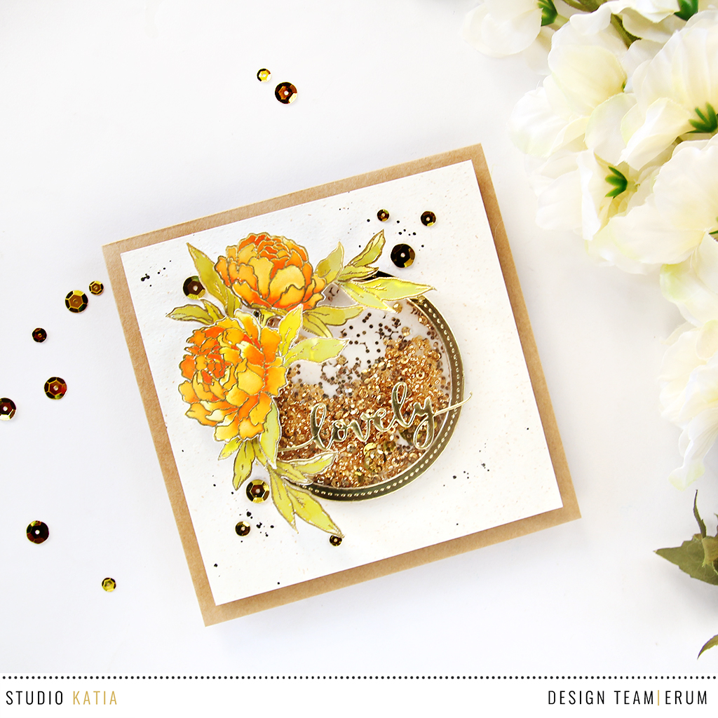 Studio Katia Together We Bloom Stamp Set watercoloured with Distress Inks | Erum Tasneem | @pr0digy0