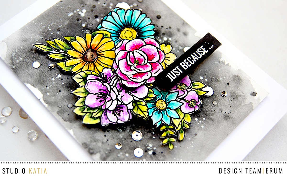 Studio Katia Floral Trimmings Stamp Set Watercoloured with Distres Inks | Erum Tasneem | @pr0digy0