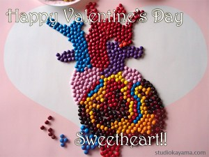 anatomical heart made of M&M's candy