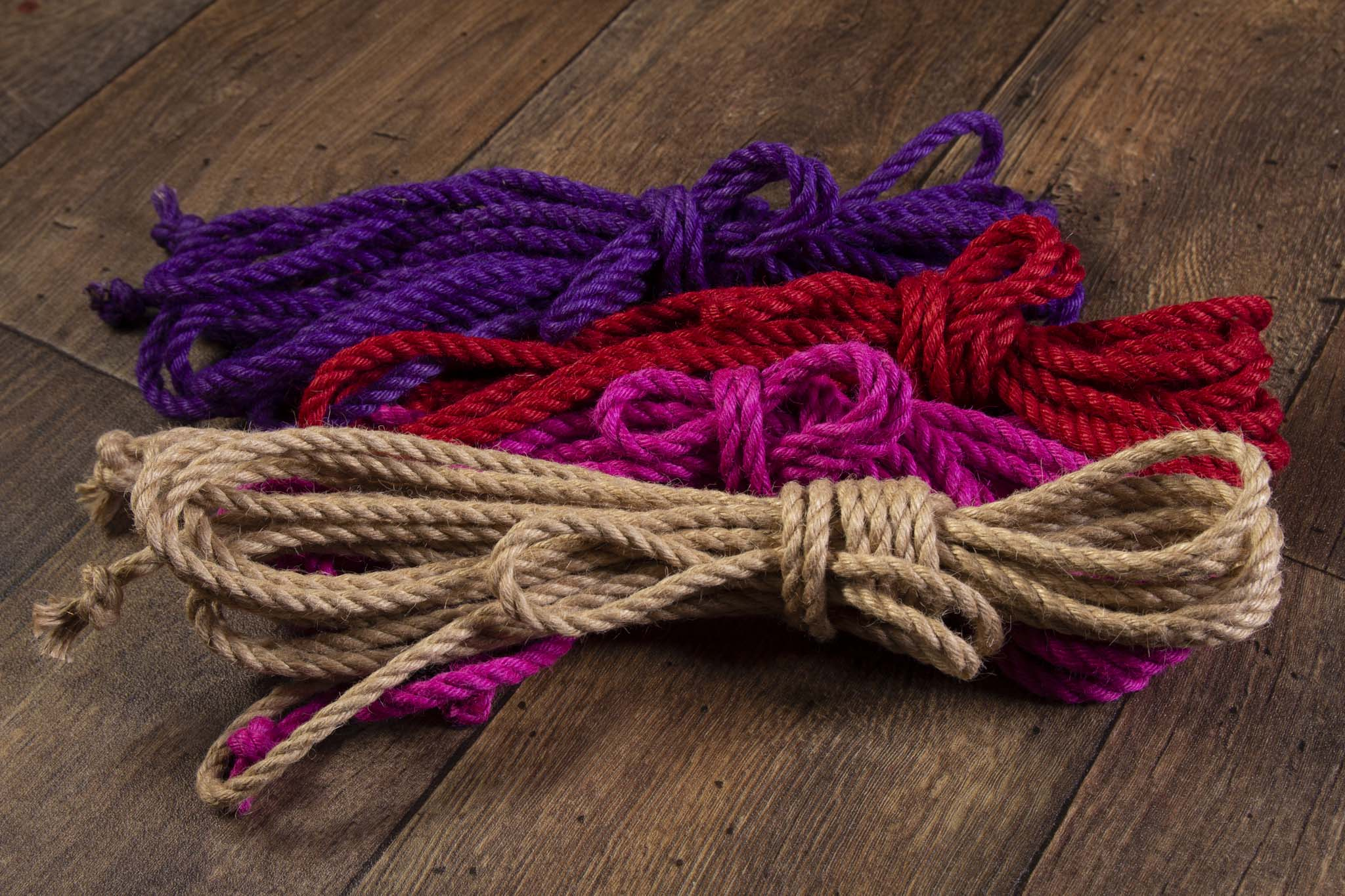 Purple, pink, red and natural 6mm Jute rope for Shibari / Kinbaku
